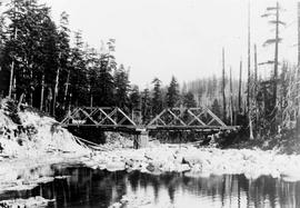 """Bridges over south fork of Nanaimo River (Junk Creek), Aug 1930"", No. 77."