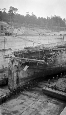 Large dry dock - hulk after collision