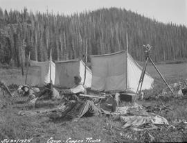Swannell's survey camp at the Copper River; west side of the Coast Mountains.