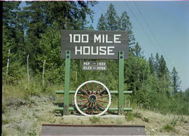 100 Mile House sign.