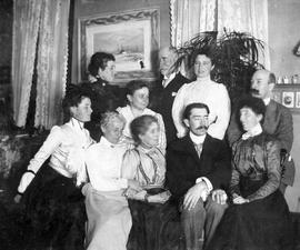 A group in the sitting room of the Roccabella residential hotel, Victoria; C.C. Pemberton collection