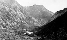 """The valley of the Bridge River above the dam, Bridge River Power Company""."