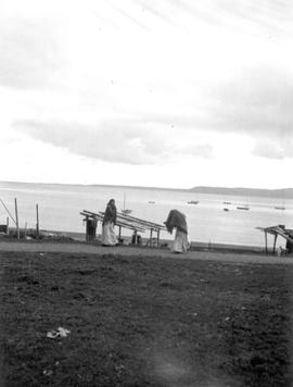 Fish-drying racks on the beach, Skidegate, Queen Charlotte Islands