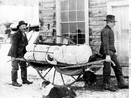 First wheel barrow on the Cariboo Road; item made in Victoria; demonstrated by Andrew Olson, John...