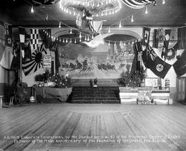 """A.B. Hall's elaborate decorations by the Dawson Aerie No. 50 of the Fraternal Order of Eagles.  In honour of the tenth anniversay of the founding of the order, Feb. 6, 1908."""