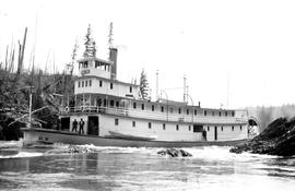 Sternwheeler S.S. B.X. in Fort George Canyon.