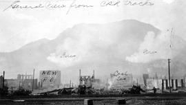 """General view from the CPR tracks.""  The Fernie fire."