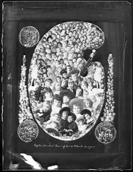 """1884; Eighteen Hundred Gems of British Columbia Greet You!""; composite photo made up of children's portraits taken the previous year; also included are the Gems from 1881, 1882 and"