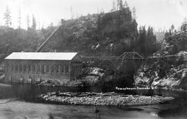 """Powerhouse, Cascade, BC""; powerhouse, bridge, and penstock on the Kettle River."