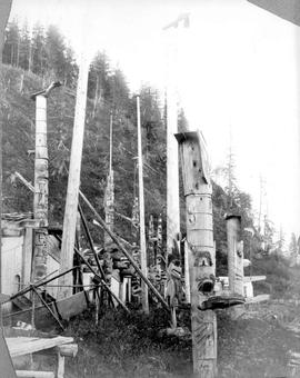 Totem poles at New Gold Harbour.