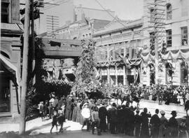 """Revelstoke riding arch; T.R.H. Duke and Duchess of Cornwall and York, passing from under Re..."