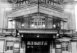 Facade and marquee of the Royal Alexandra Theatre, Toronto, Ontario, advertising the premiere of ...