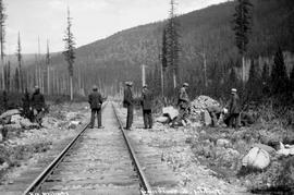 Crew arriving at Tochty station, in the east Kootenay.
