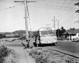 The Burnside-Marigold bus on Burnside Road, near Tillicum Road, Victoria.
