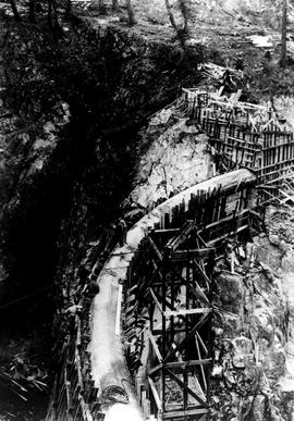 """Nanaimo Dam construction showing top of dam, 15th Oct 1931"", No. 36."