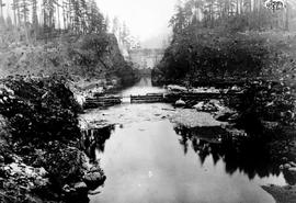 """Coffer dam and canyon, Nanaimo Dam, 15th Oct 1931"", No. 22."