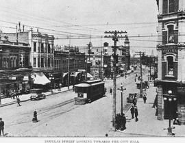 """Douglas Street, Lookings Towards the City Hall""; taken from the southeast corner of Do..."