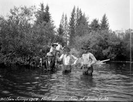 Oil claim survey, Flathead; survey crew at Beaver Lake.
