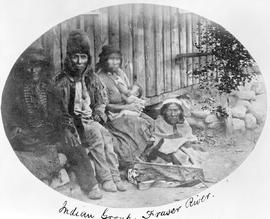 Indian group, Fraser River. Tyhee Sizeanjute, Chief of the Bonaparte Tribe, wife, etc.
