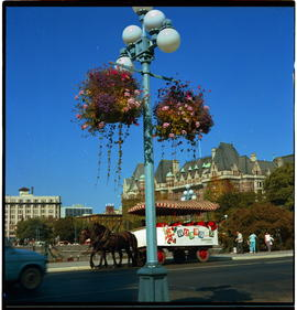 Victoria. Flower Baskets, Tally Ho And Empress Hotel