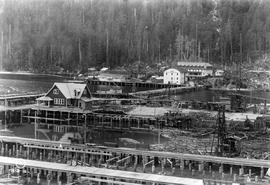 Ocean Falls; Pacific Mills general office, left, company store, centre, hotel behind store; see I...