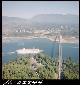 Aerial Of A Cruise Ship At Lions Gate Bridge Vancouver