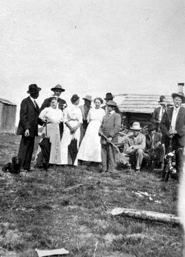 Group at Harper's camp, Horsefly; gentleman on the far right is R.N. (Bob) Campbell.
