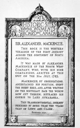 Memorial to Sir Alexander Mackenzie near Bella Coola, Dean Channel.