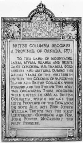 """Historic Sites and Monuments Board of Canada, ""British Columbia Becomes a Province of ..."