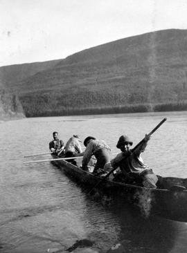 A dugout canoe on the Peace River.
