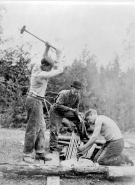 Johnson and Ericson in a rock-drilling contest; Sandon.