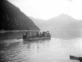 BC Mountaineering Club members in a handmade boat, possibly the Alpine Beauty, Daisy Lake, Garibaldi; box 36.