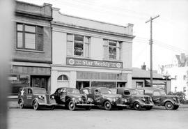 Lovick's News Agencies and their fleet of trucks on Courtney Street, Victoria.