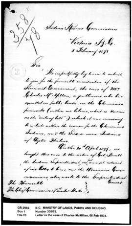 Letter from the Commissioners to the Chief Commissioner of Lands and Works re the case of Charles...