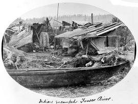 Indians encamped. Fraser River.  Do not go near an encampment after the inhabitants have left it, for fear of vermin.