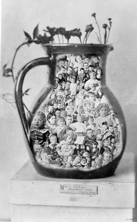 "Composite photo of children superimposed on a jug; done in the style of ""The Gems of British..."