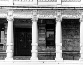 The legislative buildings in Victoria; architectural detail; columns and lintels.
