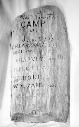 Inscription carved on tree during time of survey of Capilano tract.
