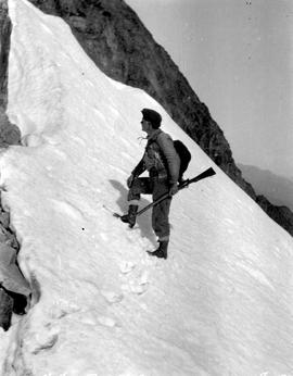 Frank Swannell climbing Peggy Peak.