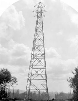 """Ruskin H.T. Line, first tower north of Fraser River, taken from north side"", photograp..."