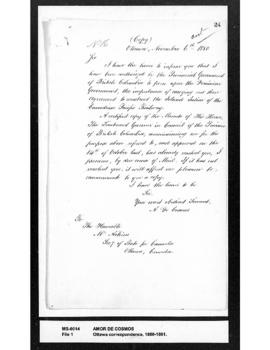 Amor De Cosmos to Mr. Aikins: informing Aikins of his appointment