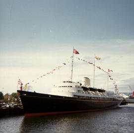 Her Majesty's yacht, the Britannia, moored in Victoria's Inner Harbour during her visit