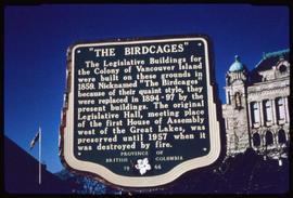 Birdcage Sign, Legislative Buildings, Victoria