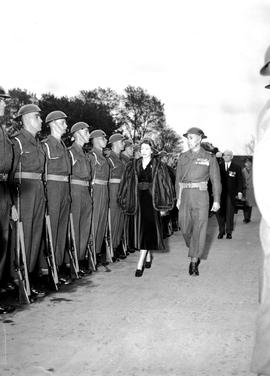 The Princess Elizabeth, Duchess of Edinburgh inspecting troops during her visit to Victoria