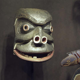 First Nations mask on display at the BC Provincial Museum.