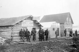 Atlin street scene showing store and Bank of B.N.A.