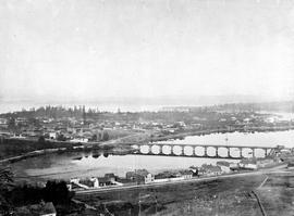 Victoria from Church Hill, Kanaka Row at bottom; James Bay Bridge and mud flats, Birdcages; Belleville Street; see A-3419, A-3422, A-3423, A-03424, A-3425, A-3426, A-3427, A-3428.