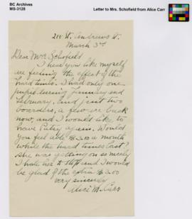 Letter to Mrs. Schofield from Alice Carr