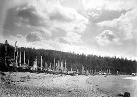 Beach view of village and totem poles, Skidegate, Queen Charlotte Islands