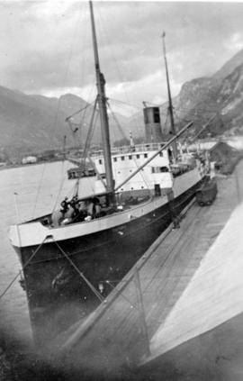 SS Victoria, formerly the SS Parthia at dock.